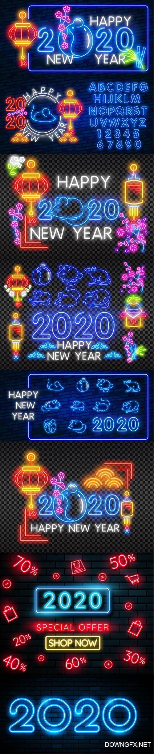 Chinese New Year 2020 Neon Greeting Card Backgrounds