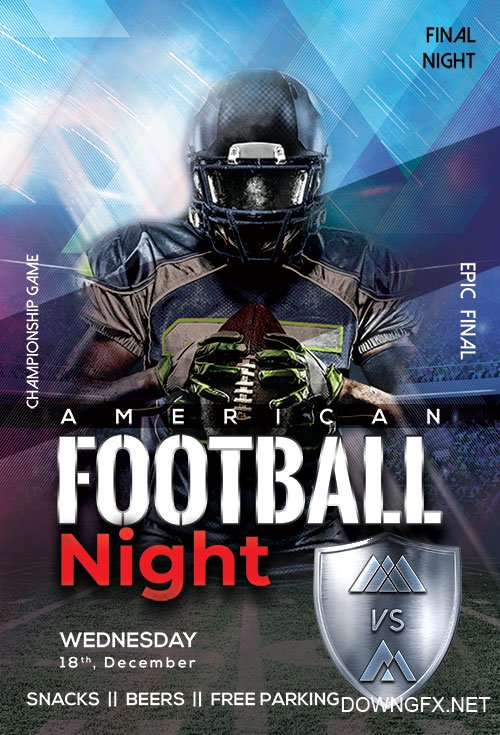American Football Night - Premium flyer psd template