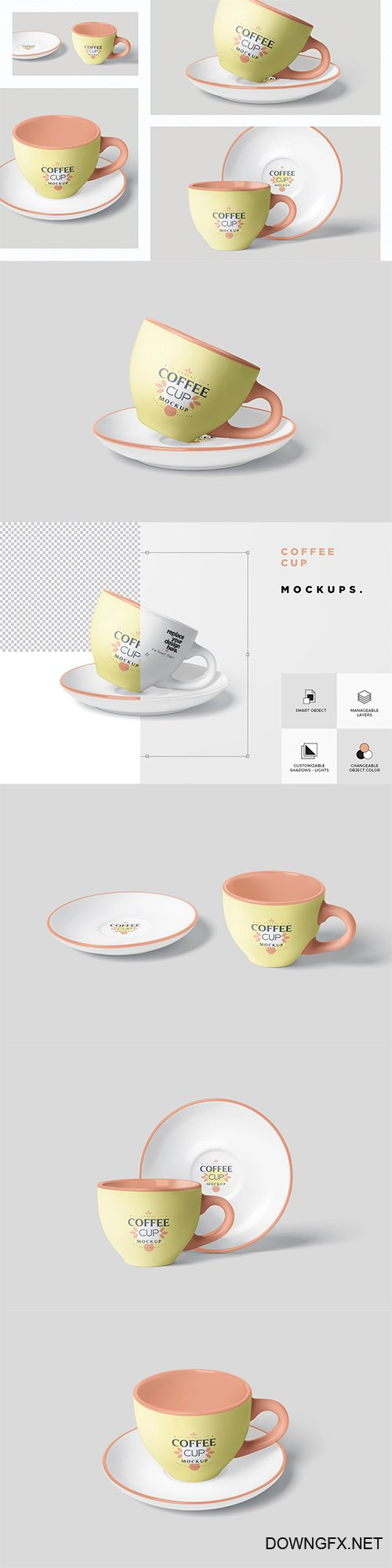 Coffee Cup Mockup Set with Saucer PSD