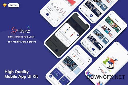Stadeum-Fitness Mobile App UI Kit (SKETCH)