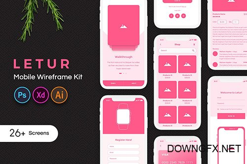 Letur Mobile Wireframe Kit