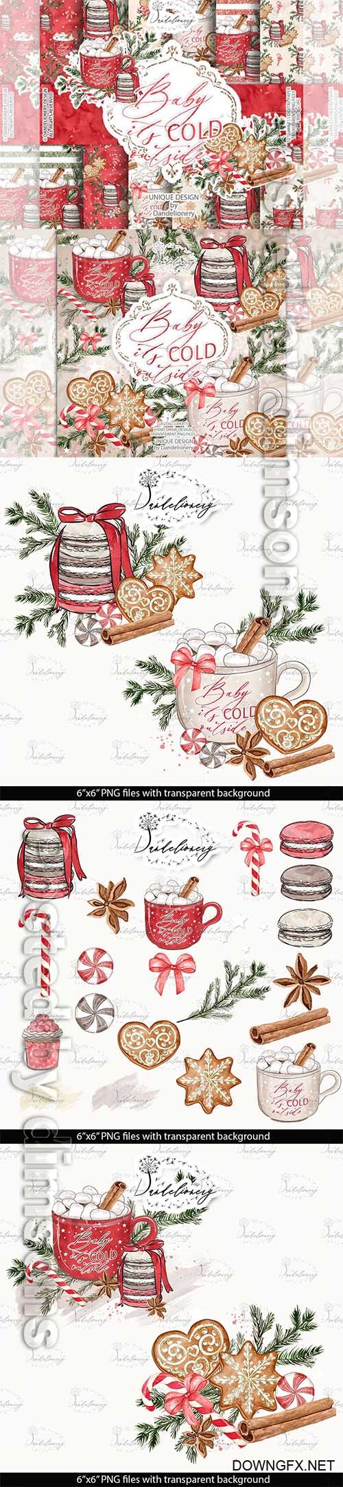 Gingerbread Watercolor Clipart and papers