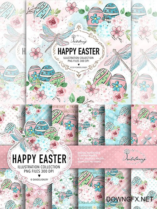 Happy Easter dragonfly design and papers