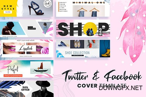 Twitter & Facebook Cover Templates PSD