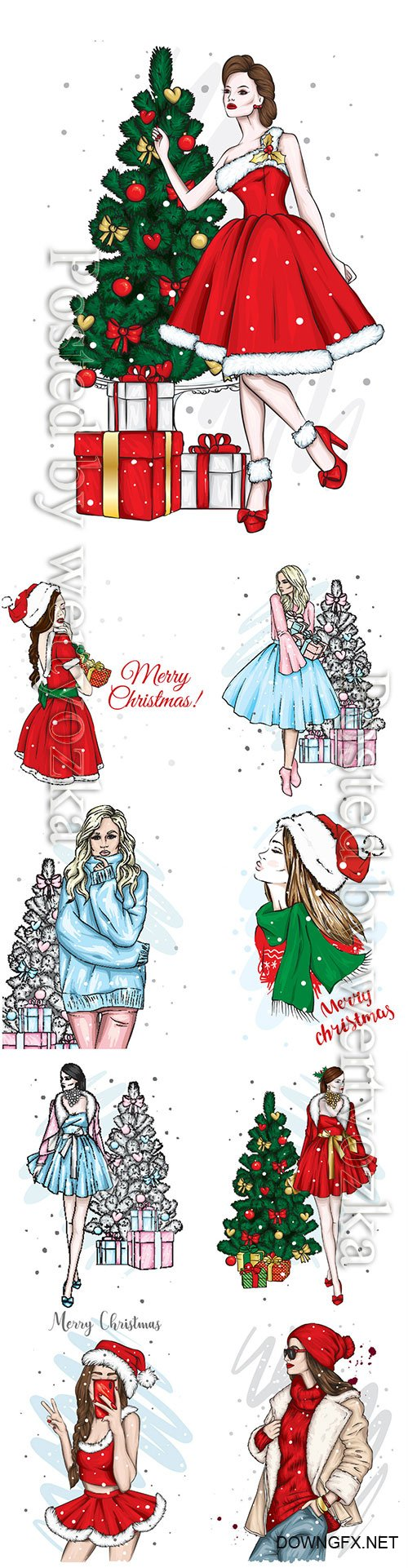 New Year and Christmas, beautiful girl in dress, winter holidays