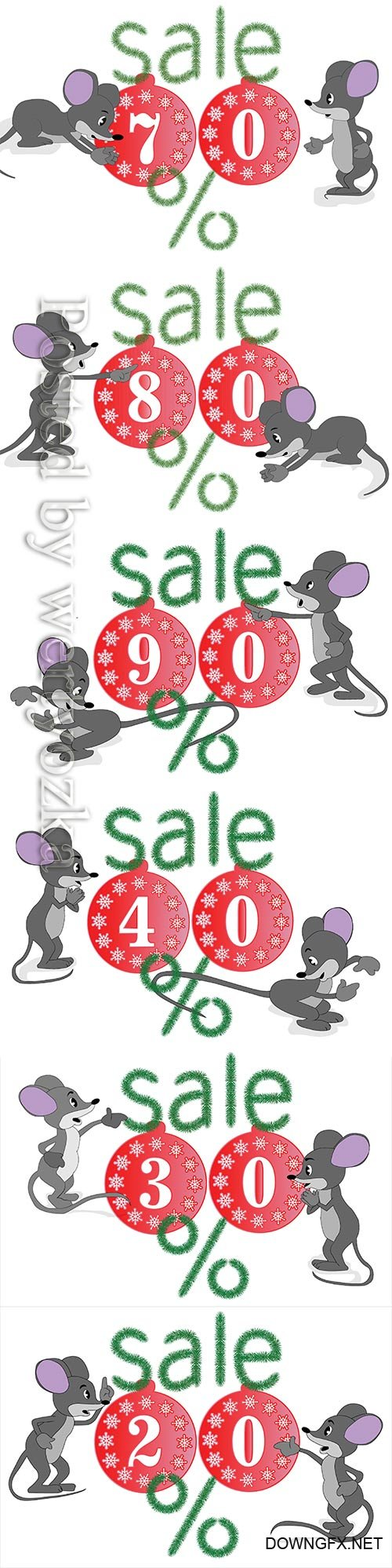 Christmas sale banner for advertising with rats and fir branches