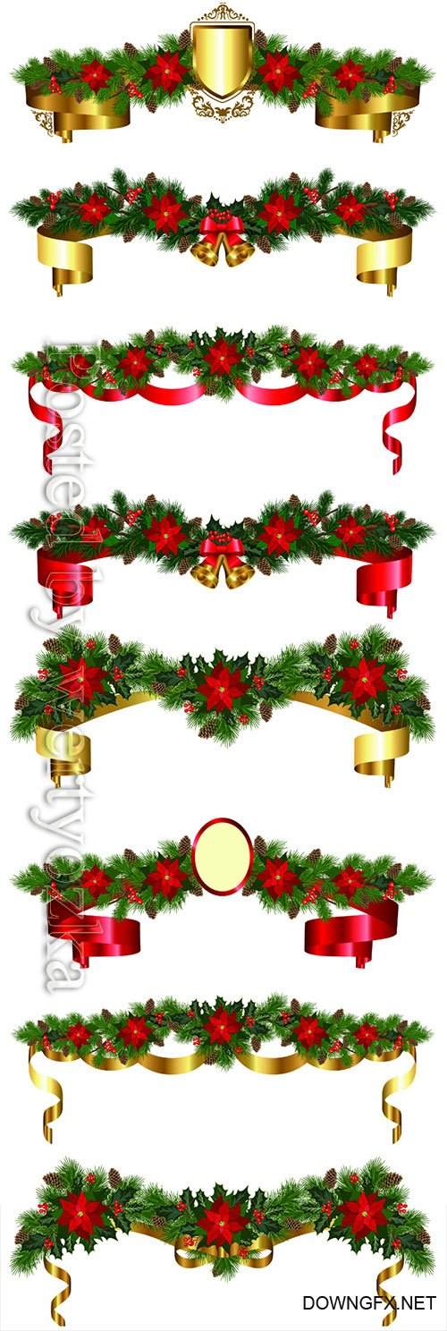 Christmas garland of fir branches, flowers poinsettia, holly, cones,