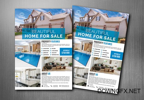 Real Estate Flyer with Blue Accents 217325594 INDT
