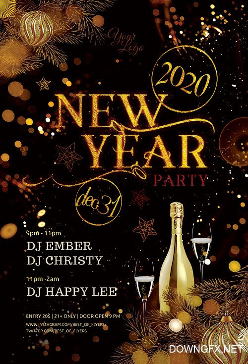 New Year Party 2020 - Premium flyer psd template