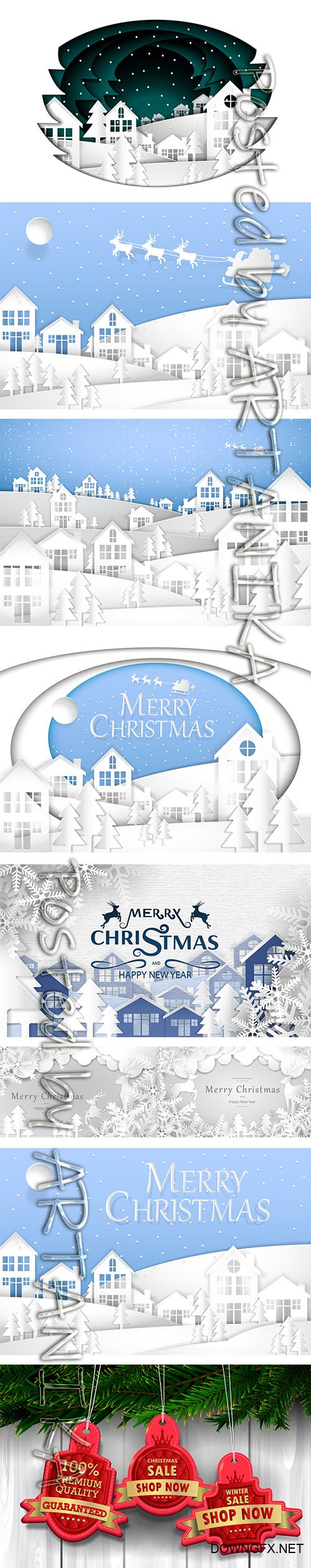 Paper Art Set - Merry Christmas and New Year 2020 Vector Illustrations