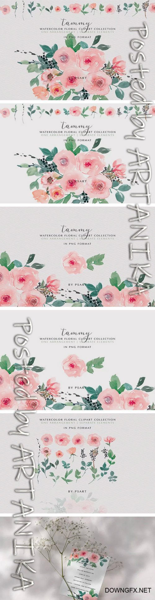 Pink Blush Watercolor Floral Clipart Set 2040266