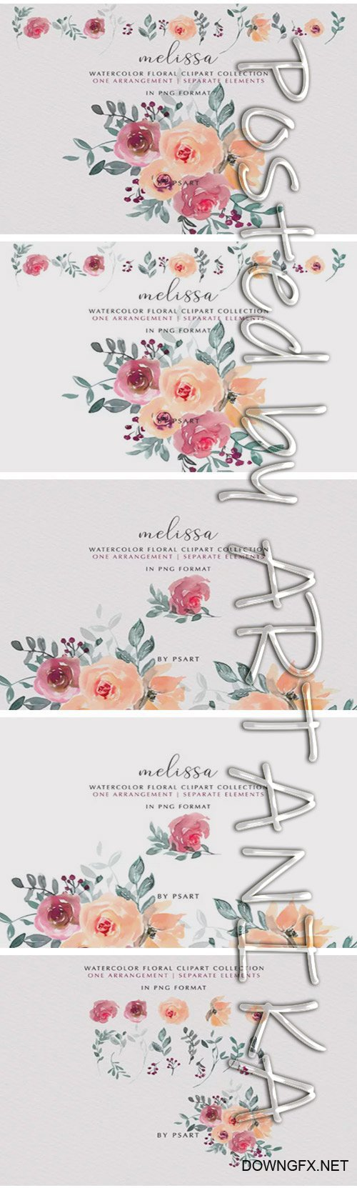 Peach and Mauve Watercolor Floral Clipart 2044841