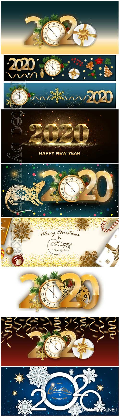 2020 Merry Chistmas and Happy New Year vector illustration # 12