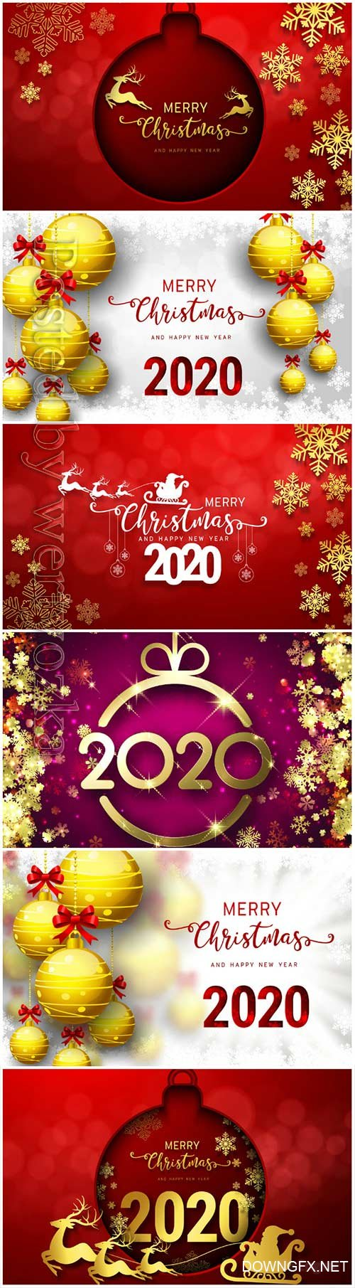 2020 Merry Chistmas and Happy New Year vector illustration # 11