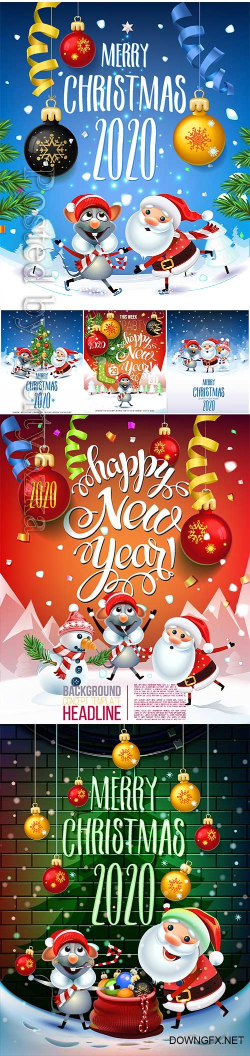 2020 Merry Chistmas and Happy New Year vector illustration # 8