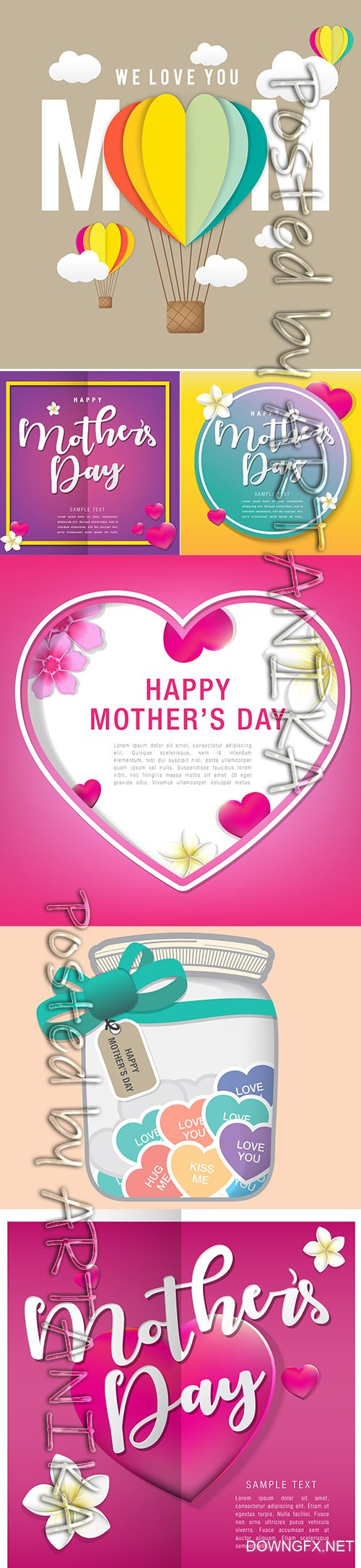 Elegant Mothers Day Greeting Card Design Templates