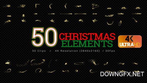 Videohive - Christmas Elements - 50Clips 4K -  25060401