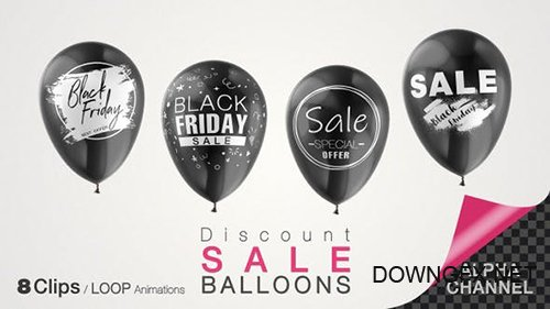 Videohive - Black Friday Discount Sale Balloons -  25081081