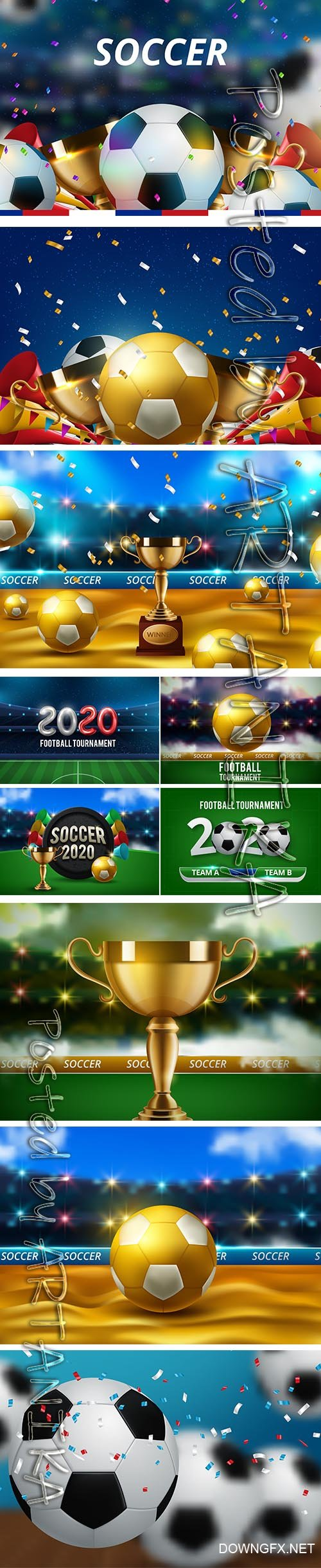Football World Championship Cup Background Soccer Set