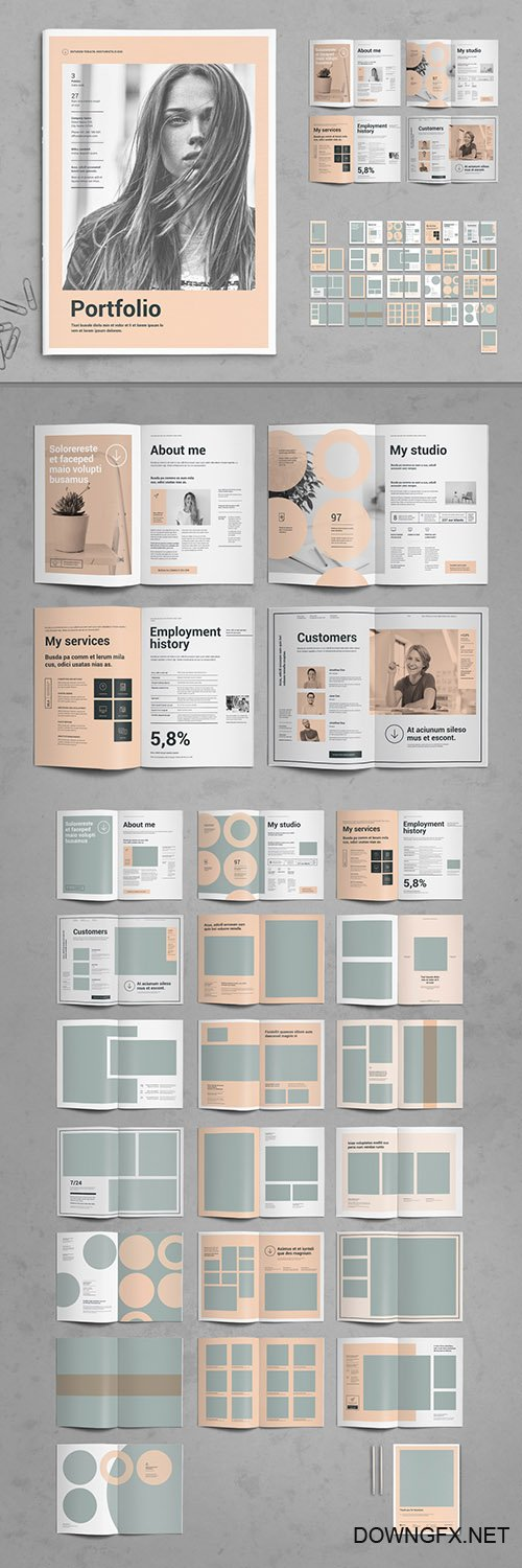 Peach and Gray Portfolio Layout 306020685 INDT