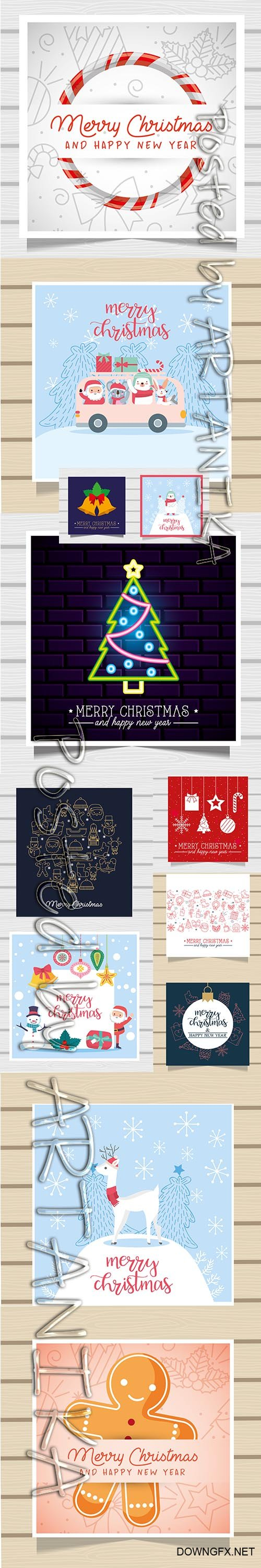 Merry Christmas Card and Backgrounds Set