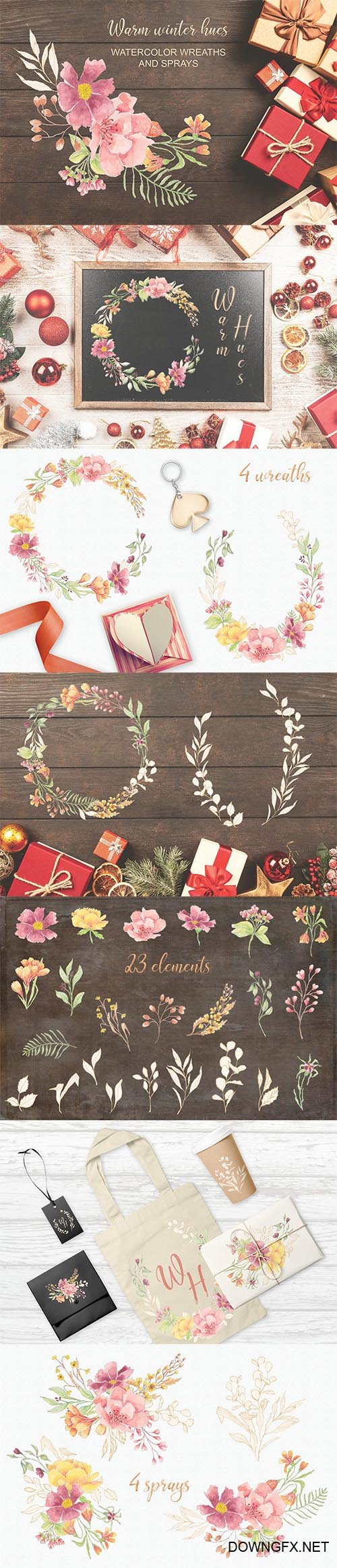 Warm Winter Hues: Watercolor Wreaths and Sprays