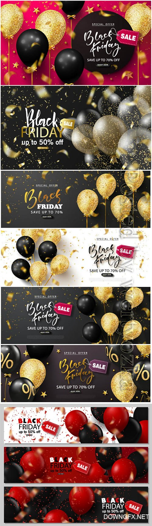 Black friday sale background with beautiful balloons and flying serpentine