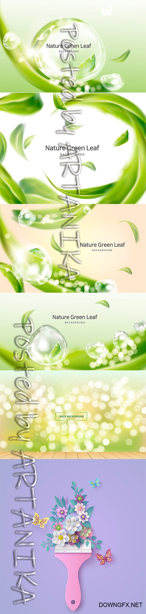 Nature Clean Air and Spring Leaves Illustrations
