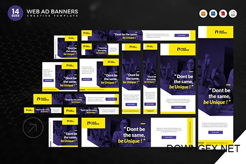 14 Modern Education Web Ad Banners Set