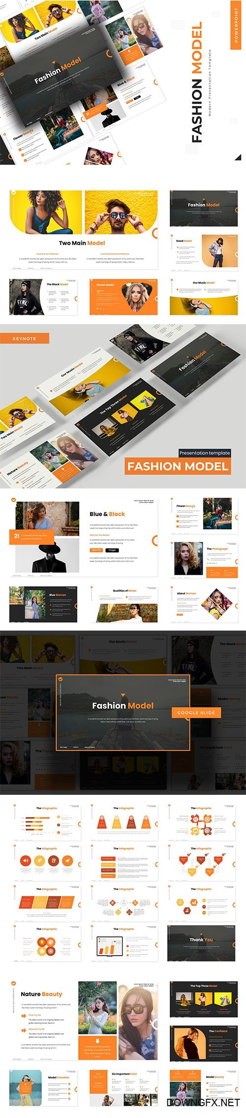 Fashion Model - Powerpoint Template, Keynote and Google Slide Template