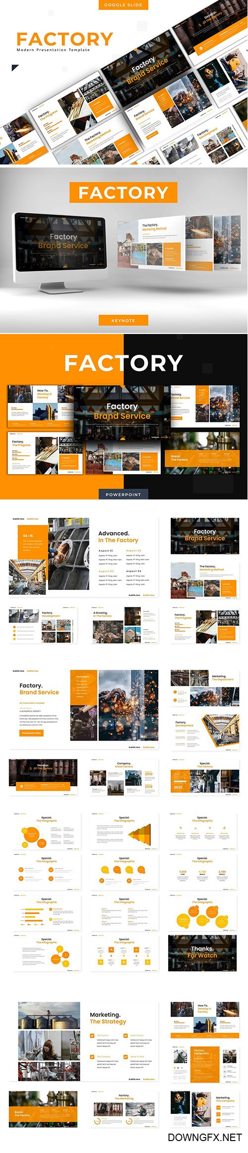 Factory Brand Services - Powerpoint Template, Keynote and Google Slide Template