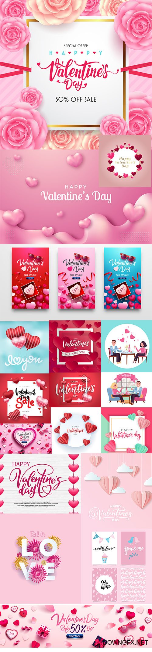 Set of Romantic Valentines Day Illustrations Vol 6