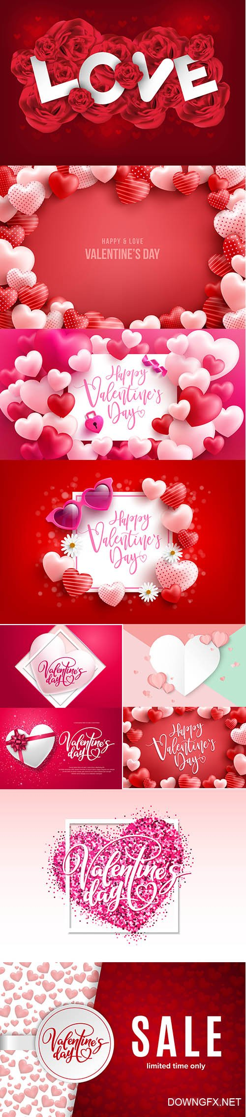 Set of Romantic Valentines Day Illustrations Vol 5