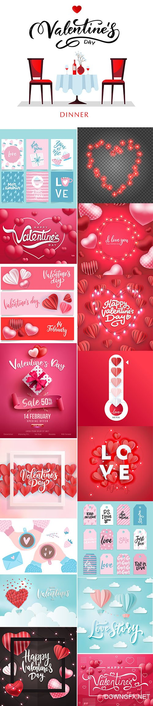 Set of Romantic Valentines Day Illustrations Vol 7