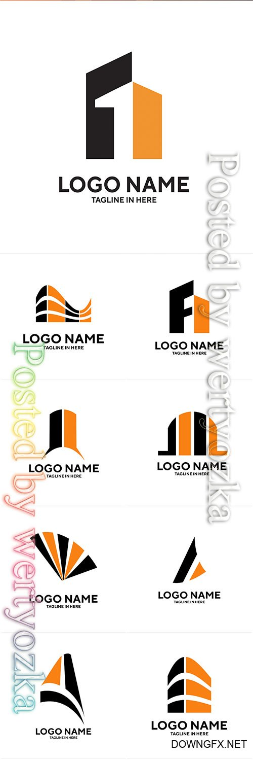 Construction and building company logos vector illustration