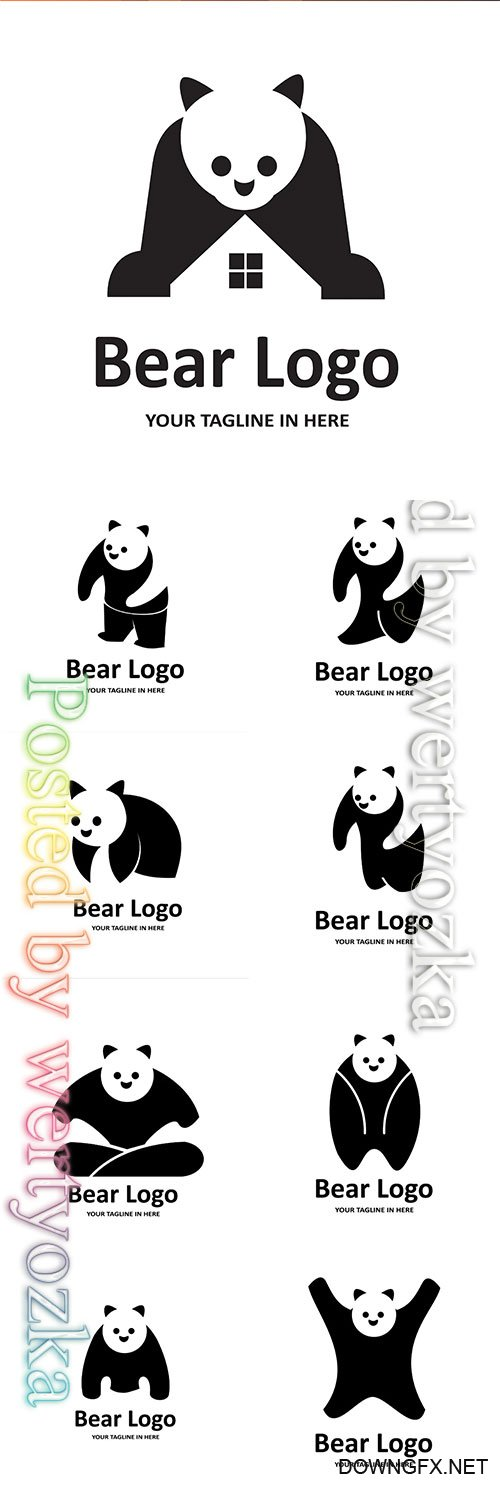 Panda vector logos illustration