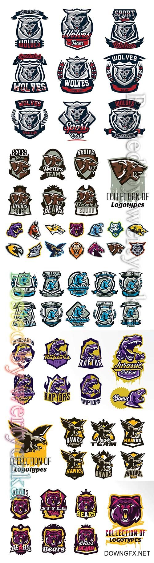 Logo collection animals vector illustration