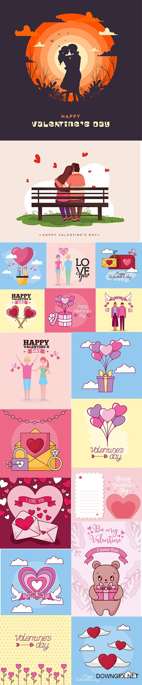 Set of Romantic Valentines Day Illustrations Vol 9