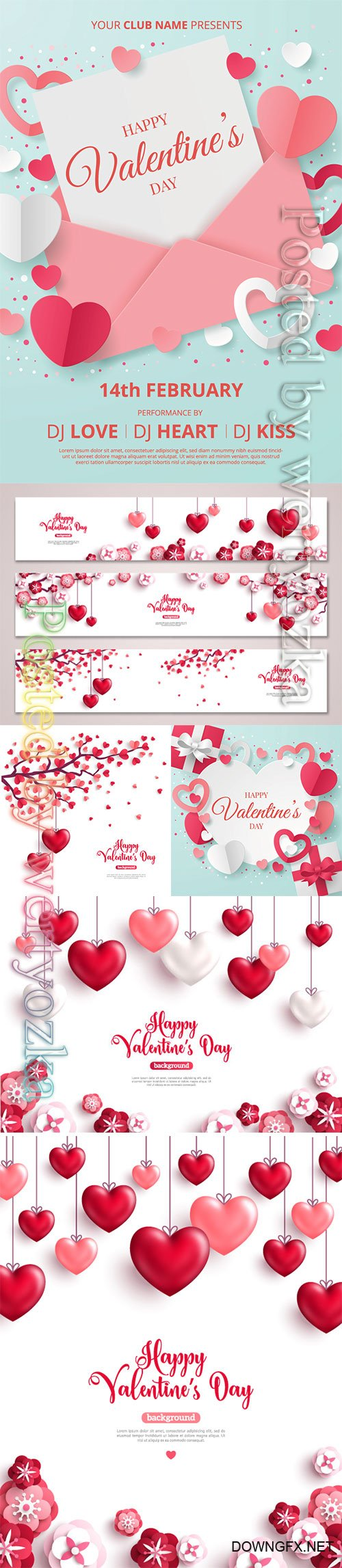 Valentines day vector background with heart # 4