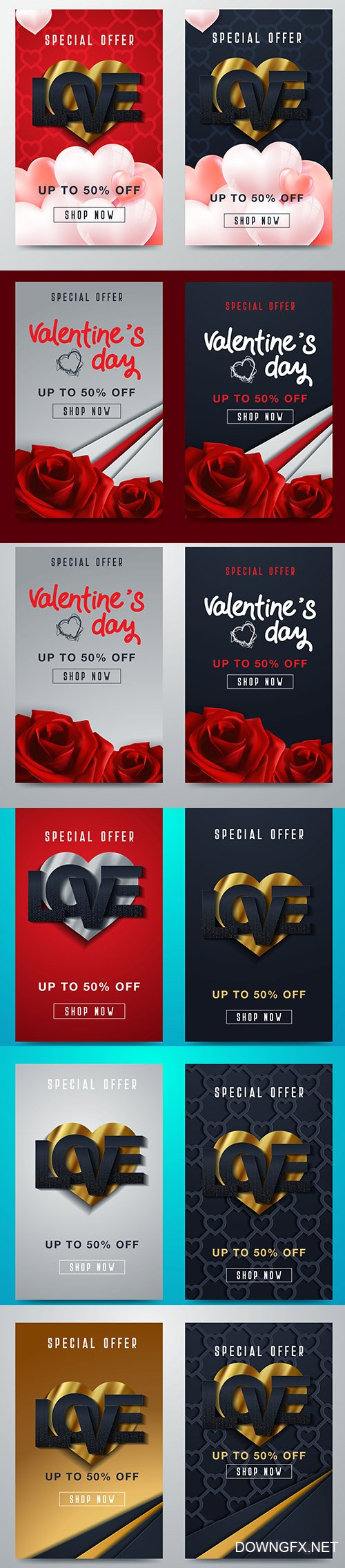 Set of Valentines Day Banner Template