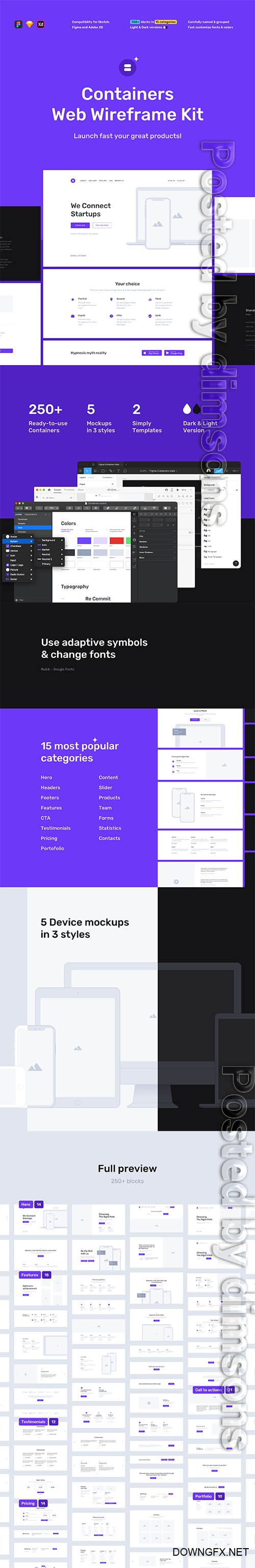 Containers Web Wireframe Kit