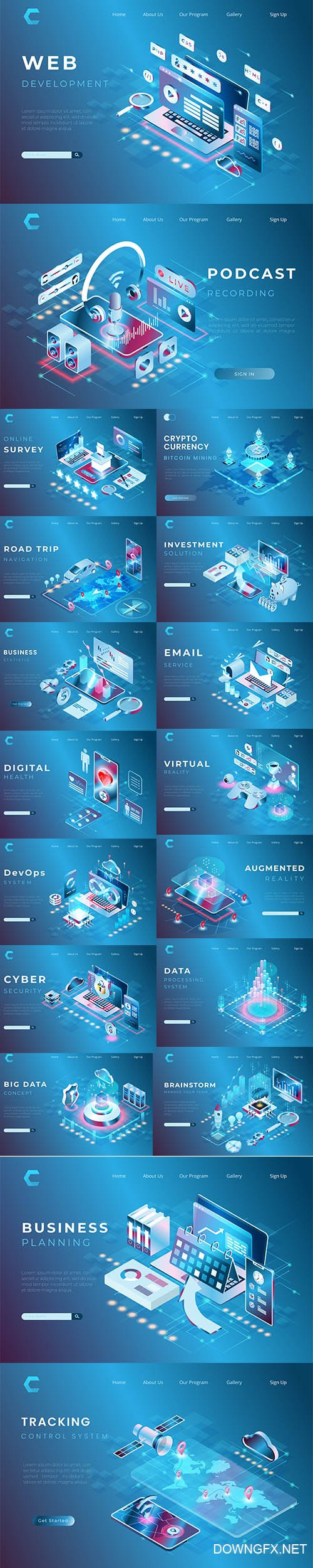 Web Business Concept Premium Illustrations Set