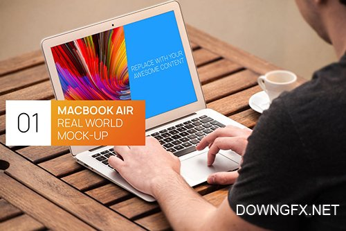 Person Using MacBook Air Real World Photo Mock-up PSD