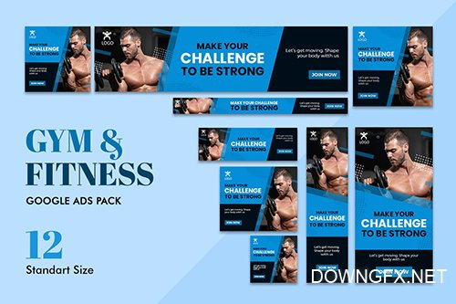 Google Ads Web Banner Gym Fitness 2 PSD