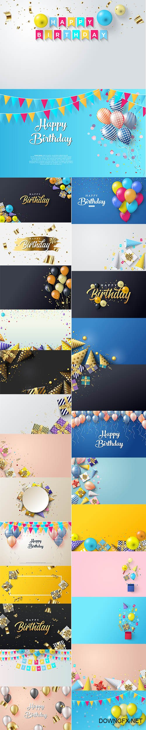 Birthday Party with Gift Box Premium Illustrations Set