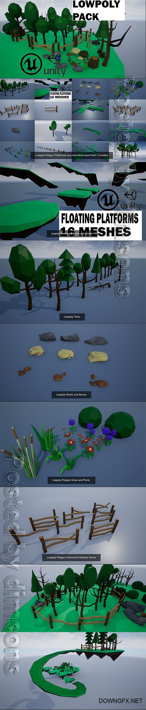 Lowpoly Polygon Platformer-tree-rock-fence-plant Pack 3D Model Collection