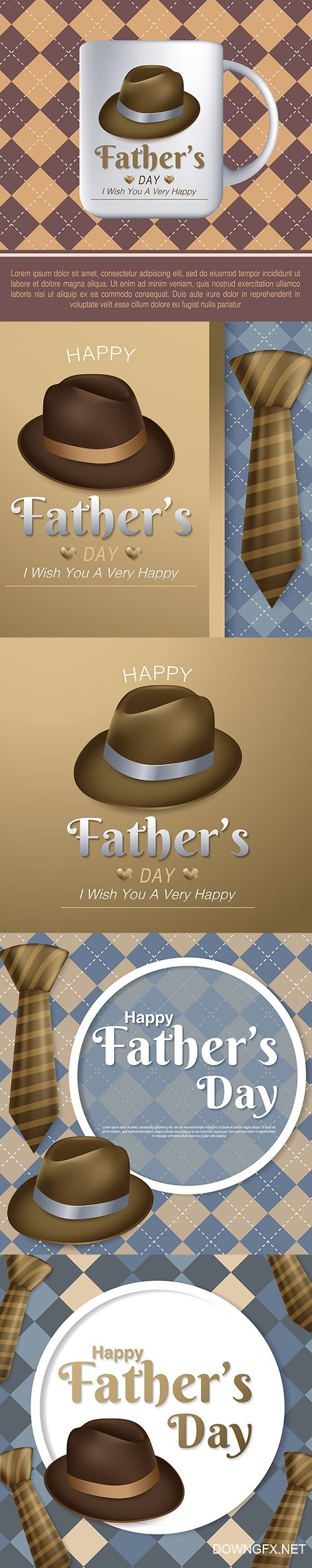 Happy Fathers Day Greeting Card Set