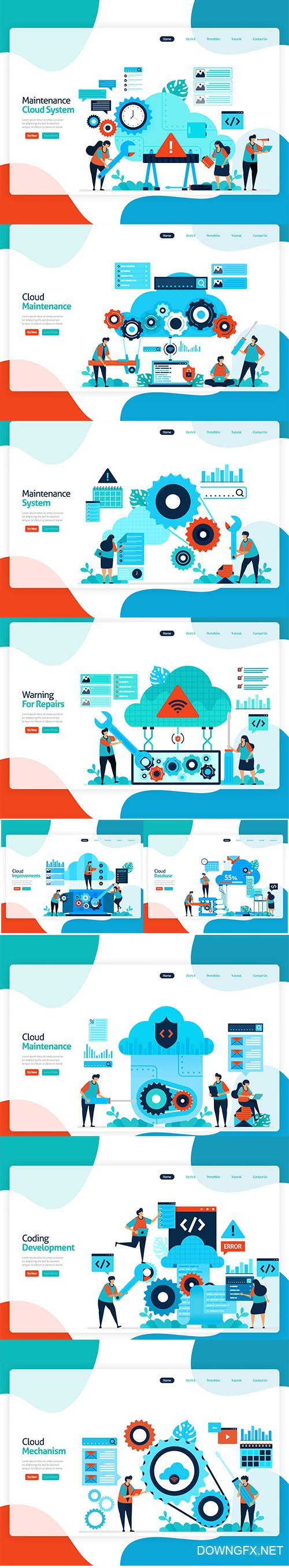 Flat Illustration Maintenance Cloud Storage Technology Template