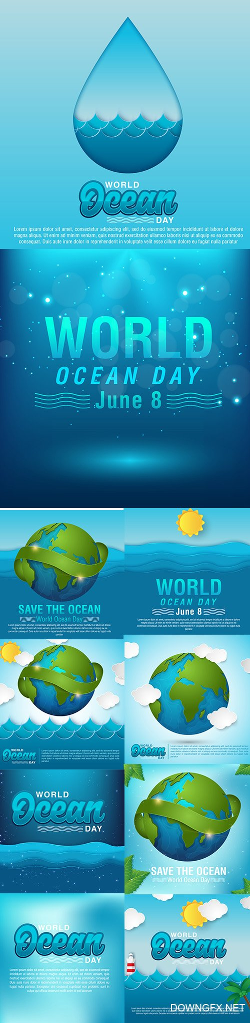 World Oceans Day Vector Illustrations