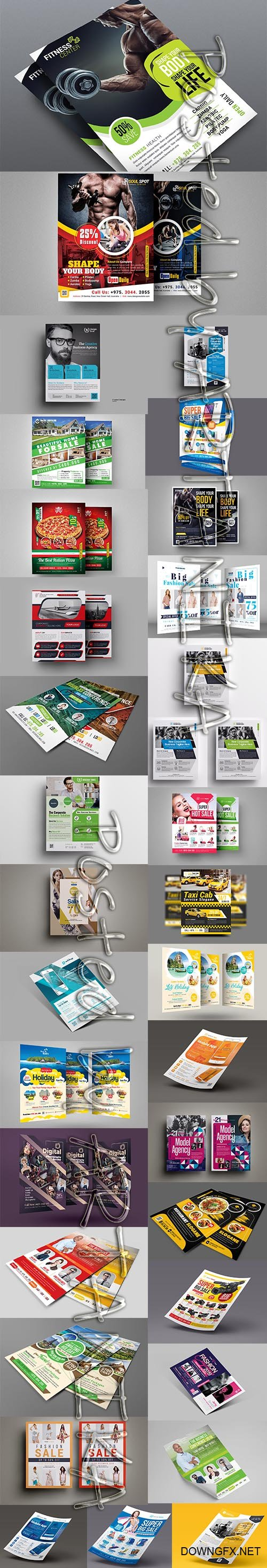 Bundle of Fitness, Business , Travel, Fashion and Food Flyer Template